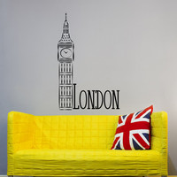 London City Skyline Removable Vinyl Wall Decals Big Ben Clock Vinyl Stickers British Gifts Office Window Bedroom Dorm Home Decor C137