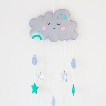 Cloud and Raindrop mobile, Grey Cloud Wall Hanging, Grey Nursery Decor, Baby Boy Nursery, Happy Clouds, Cloud Nursery Theme, Stars, Raindrop