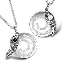 My Heart Belongs to You Forever Inspirational Wing Couples Set Simulated Onyx White Cats Eye Necklaces