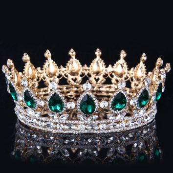2018 Green Crystal Gold Color Chic Royal Regal Sparkly Rhinestones Tiaras And Crowns Bridal Quinceanera Pageant Tiaras