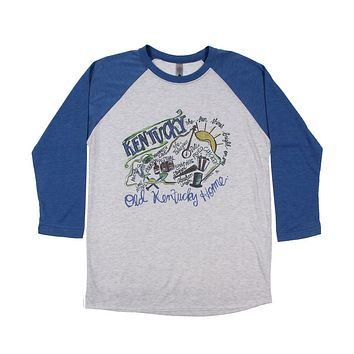 Kentucky Roadmap Raglan Tee Shirt by Southern Roots