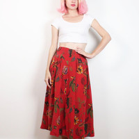 Vintage 90s Skirt Red  Green Gold Floral Leaf Print SILK Skirt High Waisted Skirt Boho Midi Skirt 90s Soft Grunge Bohemian Skirt S M Medium