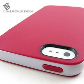Apple iPhone 5 Red/White Smooth Slim TPU Gel Cover PC Bumper Hybrid Case New