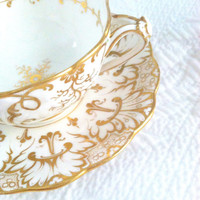Vintage Ornate White and Gold Scolloped Tea Cup/Elegance/Victorian Style