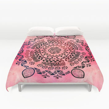 Duvet Cover, Mandala bedding, Coral galaxy bedding, Nebula duvet, galaxy bedding, Indian Mandala Bedding Home Interior Decoration