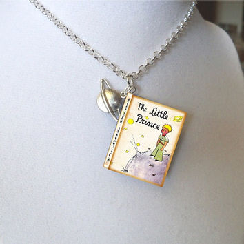 The Little Prince with Planet Saturn Charm - Miniature Book Necklace