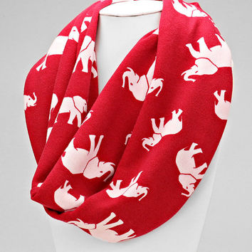 Red & White Elephant Winter Infinity Scarf