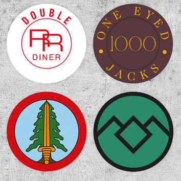 4 Twin Peaks Stickers! Bookhouse Boys, one eyed jacks, Double RR Diner, tv prop, david lynch, agent dale cooper, laura palmer