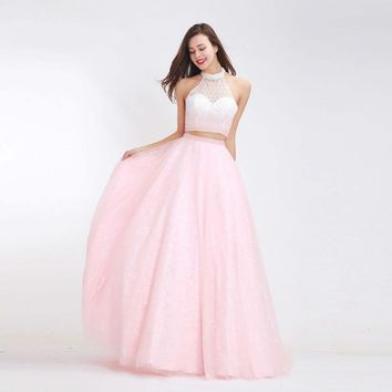 Fantasy Pink Prom Dresses Formal Two Piece High Neck Beading Backless Ball Party Gowns Vintage
