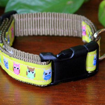 "Adjustable yellow collar 10""-14"" neck size with owl design on Jacquard ribbon"