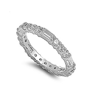 925 Sterling Silver CZ Baguette Round Eternity Ring 3MM