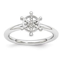 Sterling Silver Stackable Expressions Ship's Wheel Ring