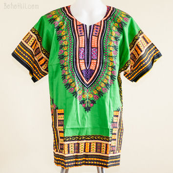 Size XL African Dashiki Kaftan Hippie Festival Colorful Shirt (Green)