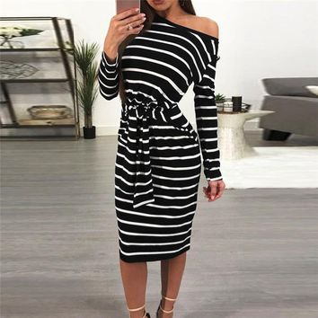Bandage Working Pencil Stripe l Mid Calf Dresses