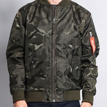 Lightweight Tonal Camo Bomber Flight Jacket