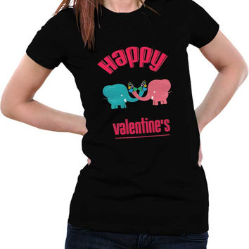 Happy Valentine,S Cute Two Elephants With Colorful Hearts  Woman T-Shirt