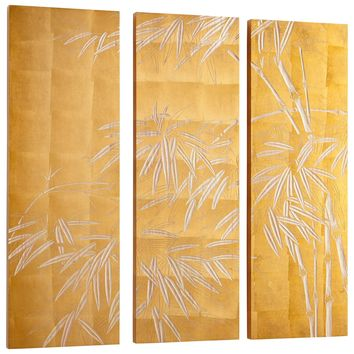 Oceania Bamboo Carved Wood Wall Art - Set of 3 by Cyan Design