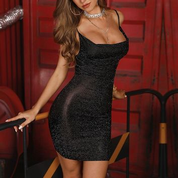 Slim strap glitter dress Women strapless transparent sexy dress Summer Night club party dresses Black glittering vestidos