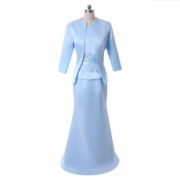 Mermaid Floor length mother of the bride dresses with jacket