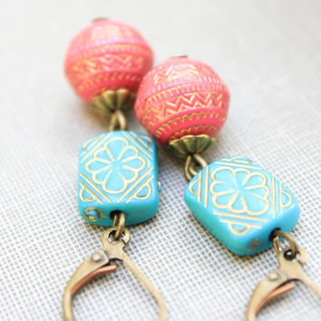 Beaded Earrings, Long Dangle Earrings, Teal Turquoise Blue, Coral Pink, Lightweight Earrings, Gold Patterned Drop, Boho Chic, Gift for her,