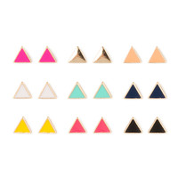 Enamel Triangle Stud Earrings Set of 9