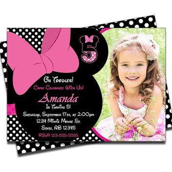 Minnie Mouse Birthday Photo Invitations