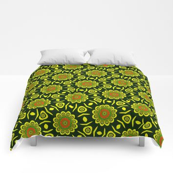 Cute ethnic floral pattern Comforters by Natalia Bykova