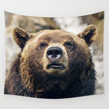 Wall Tapestry, Bear Tapestry, Wall Hanging, Grizzly Bear Animal, Nature Wall Art, Large Photo Wall Art, Modern Tapestry, Home Decor