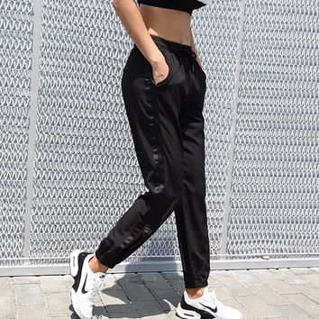 Side fringe sports  pants GYM Running training trousers women outdoor sports exercise pants lady Loose yoga