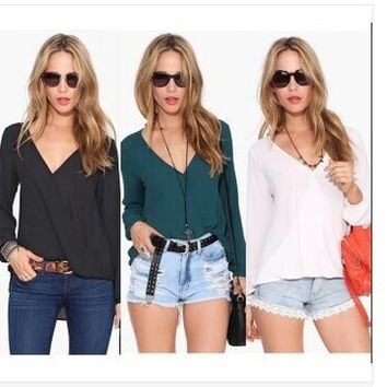 Casual Shirt Summer Autumn Long Sleeve V-neck Chiffon Women's Blouse [6331508740]