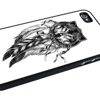 Wolf Dreamcatcher Design Iphone 4/4s 5 5c 6 6plus Case (iphone 4/4s black)