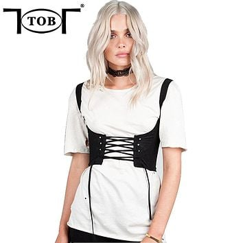 TOB 2017 summer new fashion women tank shoulders corsets belt front bowtie lace up back zipper womens' belt black XD798