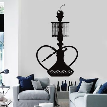 Vinyl Wall Decal Shisha Hookah Smoke Smoking Arabic Decor Stickers Mural Unique Gift (134ig)