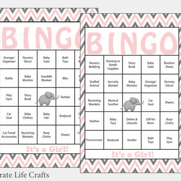 60 Elephant Baby Shower Bingo Cards -  60 Prefilled Bingo Cards - Girl Baby Shower Game - Pink Gray - Printable Download - B3001
