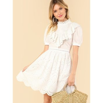 White Mock Neck Eyelet Ruffle Lace Dress