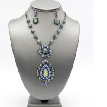 """17"""" crystal blue ab pendant necklace 1.25"""" earrings"""