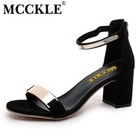 MCCKLE New 2017 Sexy Party Fashion Zip Women's Sandals Ladies Casual Hight Heels Ankle Strap Shoes Women Fashion Sandals