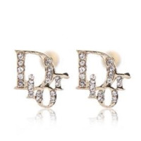 DIOR Personality new fashion letter more diamond women earring accessories