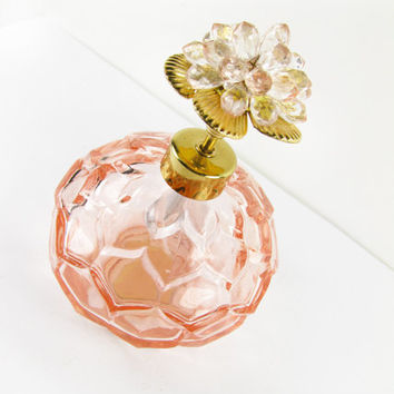 Vintage I Rice Perfume Bottle, Pink Flower / Vintage I Rice Collectible Perfume Bottle - Bouteille de Parfum Rose.