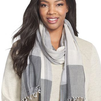 Plus Size Women's Eileen Fisher Floating Stitch Plaid Organic Cotton Scarf