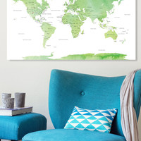 Push Pin Travel Map CANVAS World Map Watercolor Green Countries - World Map with Pins, Pin It Map, Pin it Adventures, Gift Idea, 240 Pins