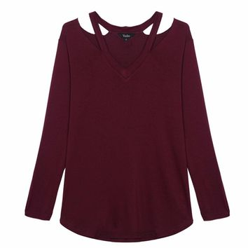 Women V neck cut out loose shirts casual off shoulder t shirt basic long sleeve tees cozy tops 5 colors ST1846