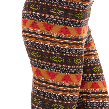 Women's Regular Christmas Tree Multi Colored Fleece Leggings