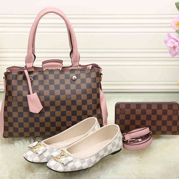 LV Women Leather Tote Satchel Shoulder Bag Handbag Shoes Wallet Three Piece Suit-6