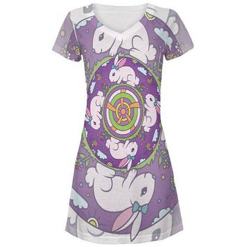 CREYCY8 Mandala Trippy Stained Glass Easter Bunny All Over Juniors Beach Cover-Up Dress