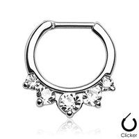 Cz 14g or 16g Septum Clicker Ring 316L Stainless Steel - Choose Clear, Pink or Aqua (14g Clear CZ)