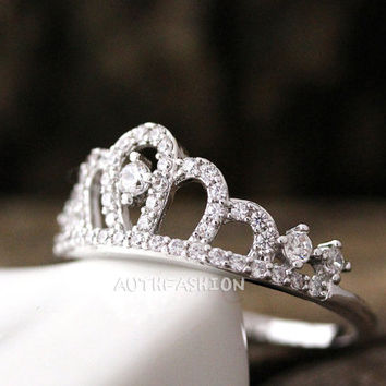Crystal Crown Ring Tiara Ring Princess ring Stacking ring Bridesmaid Gift Idea bycr15