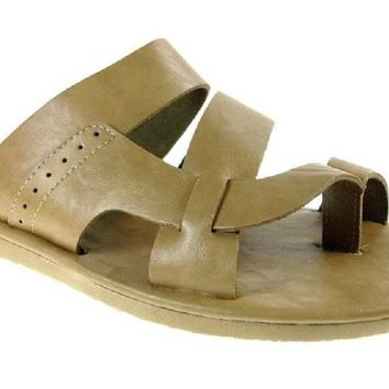 Mens Scandro Ring Toe Slip On Leather Sandals 52679 Beige