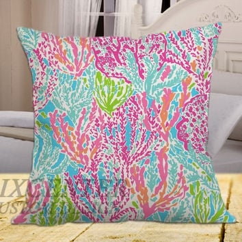 Lilly pulitzer on square pillow cover 16inch 18inch 20inch