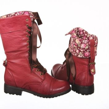 Ribbon Lace up Mid Calf Floral Cuff Lace up Combat Boots (10, cherry red pu)